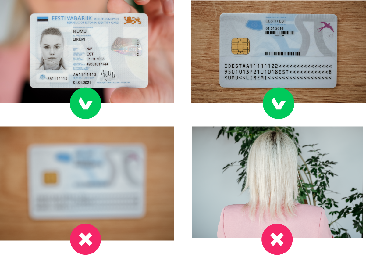 Take photos of both sides of your identification document