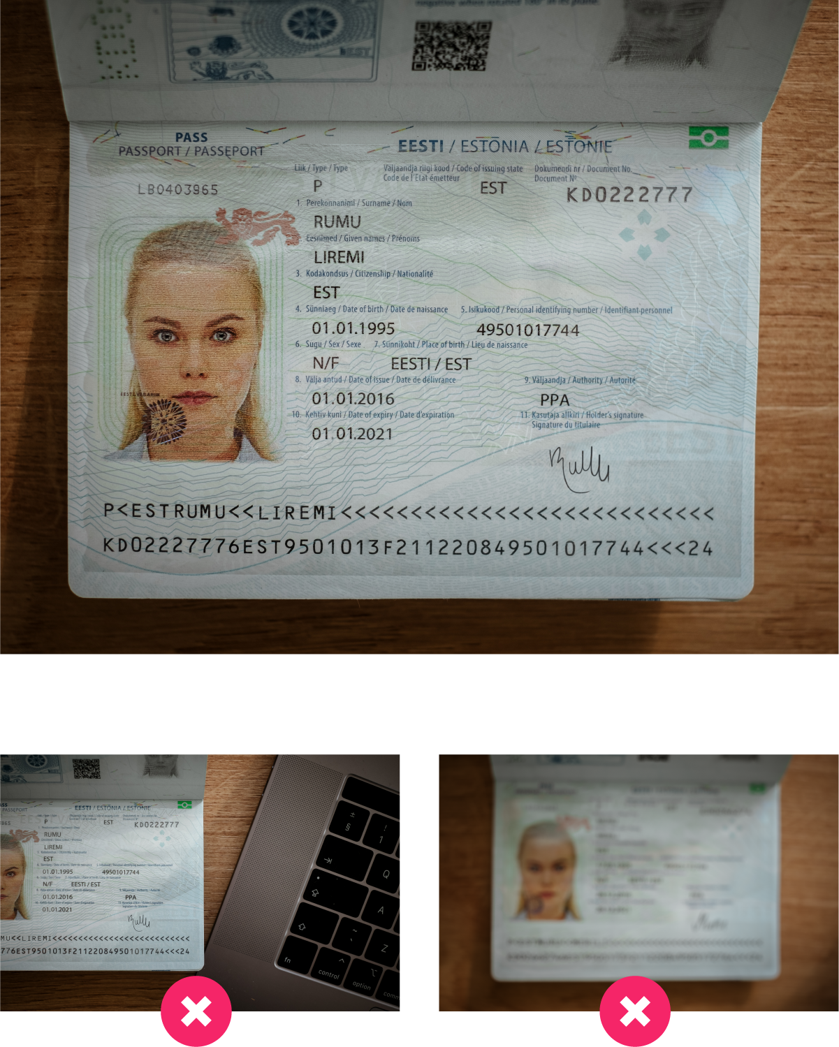 Both pages of your passport are needed to verify your identity