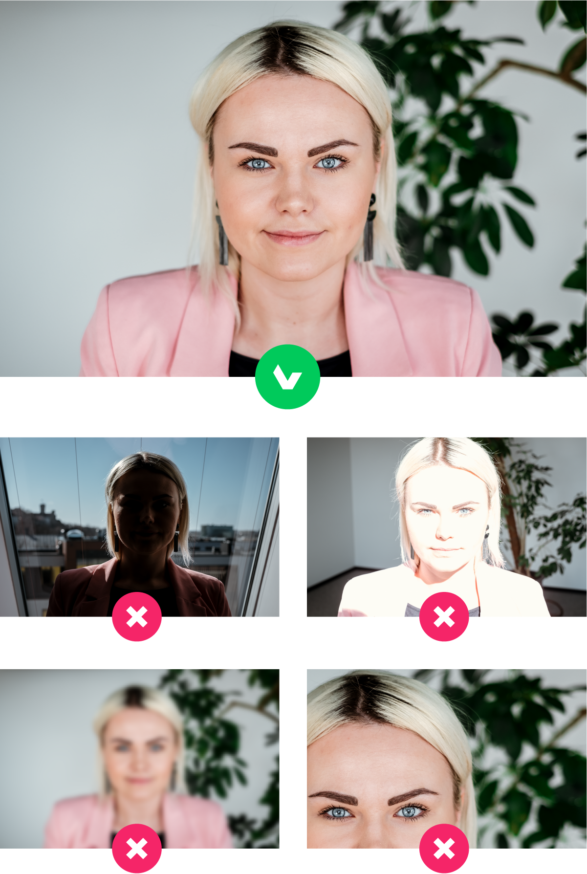Photos with good lighting are needed to verify your identity
